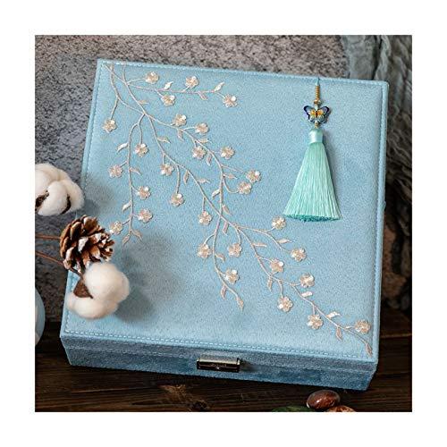 hkwshop Caja de Joyas De Dos Capas de Franela de joyería Caja de Almacenamiento con joyería de Bloqueo Bordado Estilo Chino Caja for la Mujer (Azul) Caja Organizador Display Caja de Joyería
