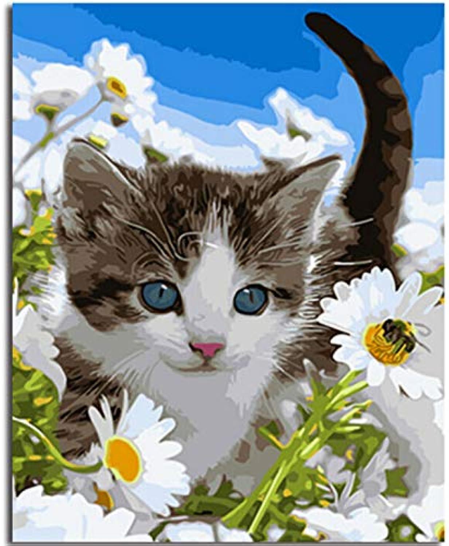 WGXCC Gerahmte DIY Bild DIY Malen Nach Zahlen Katze Bild Malerei & Kalligraphie Wandkunst Ohne Rahmen 40x50 cm B07HP3896J | Neuheit