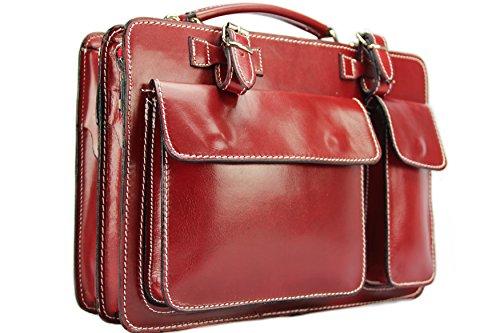 Business- und Laptoptaschen Italienische Aktentasche M (Rot)