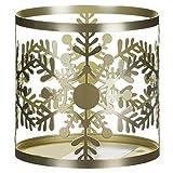 Yankee Candle YANK6 - Portavelas (Metal, 11 cm), diseño de Copos de Nieve, Color Dorado
