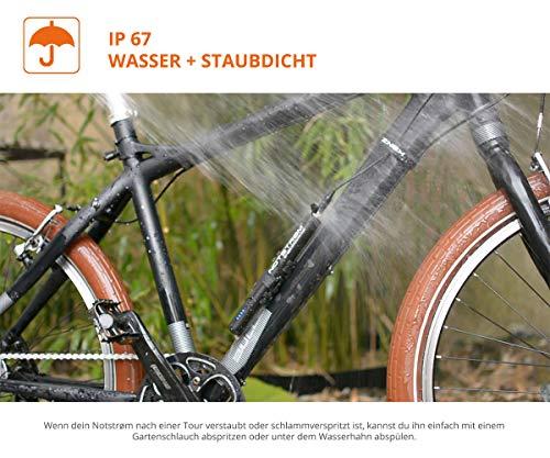 ZNEX NOTSTRØM™ | Wasserdichte IP67 Power Bank mit Rahmenhalter fürs Fahrrad, Rennrad, MTB, Trekkingrad zum Laden von iPhone Handy GPS GoPro USB Bike Lampe | 10000mAh/2.4A - 5