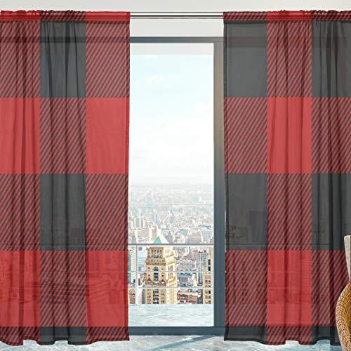 Mnsruu - Cortinas para Ventana (140 x 213 cm, 2 Paneles), diseño de Cuadros Rojos y Negros