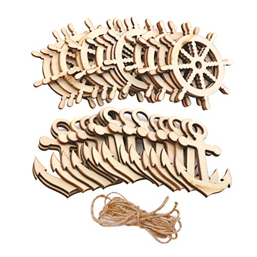 30 Pcs Wooden Anchor Rudder Shape Decoration to Paint, Unfinished Small Wood Anchor Rudder Cutouts for Arts Crafts DIY Projects Home Party Decoration