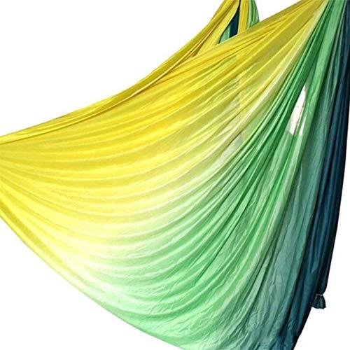 Gfhrisyty Juego de Hamaca de Yoga AéRea Antigravedad Degradado Verde y Amarillo de 5 M