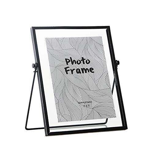 VANRA Marco de fotos de 6 x 8 pulgadas de vidrio flotante de metal con vidrio de alta definición para mesa de escritorio (negro)