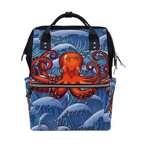 NHJYU Ocean Cool Octopus Travel Mochila Large Nappy Bolsa de pañales Laptop Mochilas for Women Men