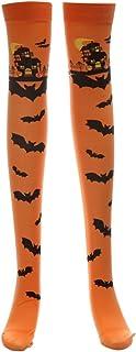 Cosplay de Halloween Medias suaves sobre la rodilla Calcetines altos Patrón de murciélago Medias largas para mujeres niñas (naranja)
