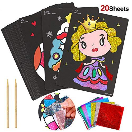HOWAF Kinder Bastelset, 20 Blatt Kreative Zauber Folien, mit 30 Folie Blatt und 2 Holzstift, Geschenk für Jungen Mädchen Kinder Spielen Mitgebsel Kindergeburtstag Gastgeschenke