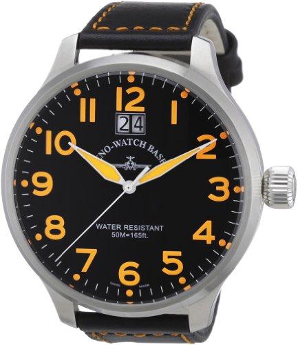 Zeno Watch Basel 6221Q-a15 - Reloj analógico de cuarzo para hombre con correa de piel, color negro