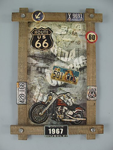 TD Holzbild mit Blechschilder und Emblemen US Deko Route 66 im Retro Stil 59 x 40 cm (rot - Motorrad)