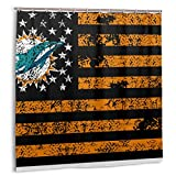 KATERN Miami Dolphin Sports Flag, Duschvorhang Home Decoration 60inX72in
