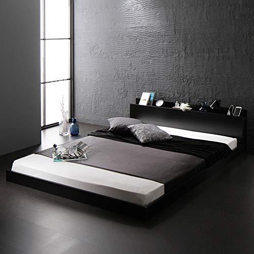ベッド 低床 ロータイプ すのこ 木製 宮付き 棚付き コンセント付き シンプル モダン ブラック シングル ベッドフレームのみ 『Senttele』 セントル