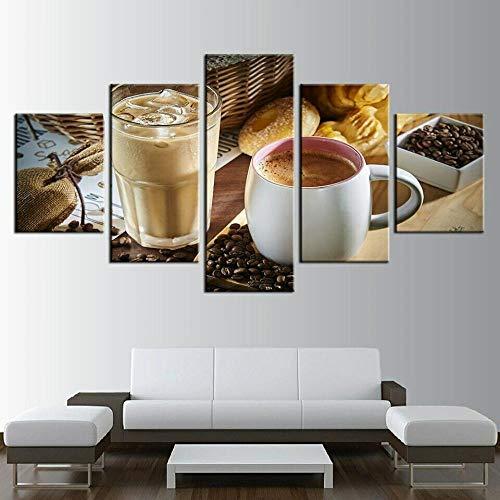 DGFHW Modernos 5 Piezas Lienzo Grano De La Taza De Café Grandes XXL Murales Pared Hogar Pasillo Decor Arte Pared HD Impresión Foto 150X80Cm Regalo