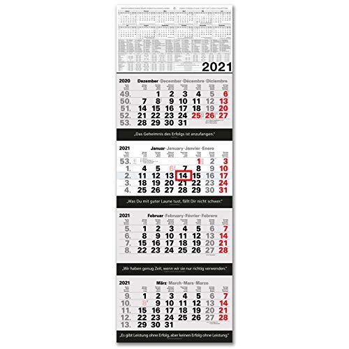 Kalender 4-Monatskalender 2021 Wandkalender groß - Kombi 4 Monatskalender ohne Werbung mit Datumsschieber | Bürokalender Monatsübersicht vier Monate mit Jahresübersicht | XXL 96 x 33 cm Planer