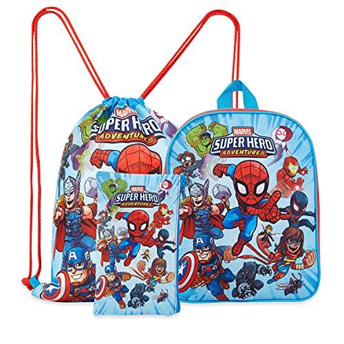 Marvel Avengers Rucksack Kinder Set 3-teilig mit Kindergartenrucksack Jungen, Turnbeutel Kinder, Federtasche Junge