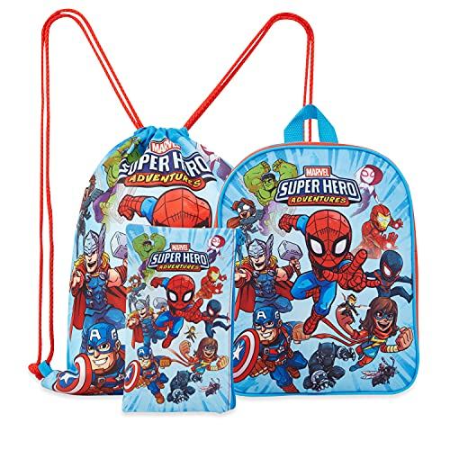 Marvel Avengers Backpack for Boys, 3 Piece School Bag Set with Pencil Case and Drawstring Gym Bag