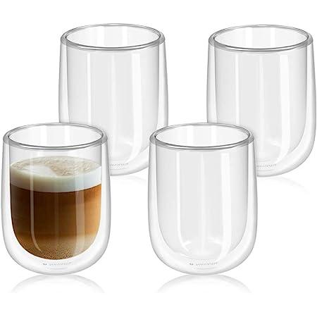 des fruits du latte LY FZ438 Tasse /à caf/é isotherme double paroi en verre borosilicate 80 ml pour boire du lait du caf/é du th/é de l/'expresso 80ml du jus de fruits