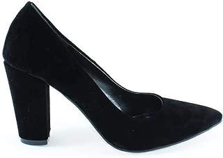 Küçük Numara Kalın Topuklu 8 cm Stiletto Topuklu Bayan Ayakkabı Siyah Bega