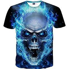 3D Cráneo Estampado Camisa de Manga Corta para Hombres Divertidas chulas Camiseta de Impresión