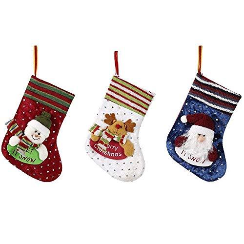 NLRHH 6 Teile/Weihnachten auf hängende kleine Taschen Geschenk Taschen verzierte weihnachtssocken weihnachtssocken Stereo socken DIY (Farbe: zufällig, Größe: 19 * 11 cm) Peng (Color : Random)