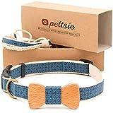 Pettsie Pet cane collare farfallino e braccialetto dell' amicizia per lei, durevole canapa per una maggiore sicurezza, comodo e morbido, Strong D-Ring per un facile attacco guinzaglio (M, blu)