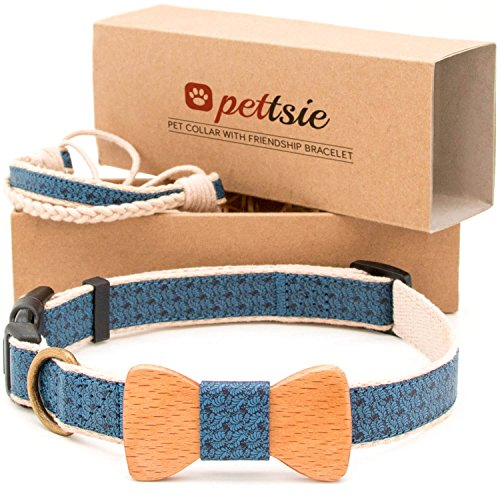 Matching Dog Collar Bow Tie & Owner Friendship Bracelet, Adjustable Size X-Small, Small & Medium, Durable, Pet-Friendly Hemp with Fancy Pattern and Soft, Strong D-Ring for Easy Leash Attachment