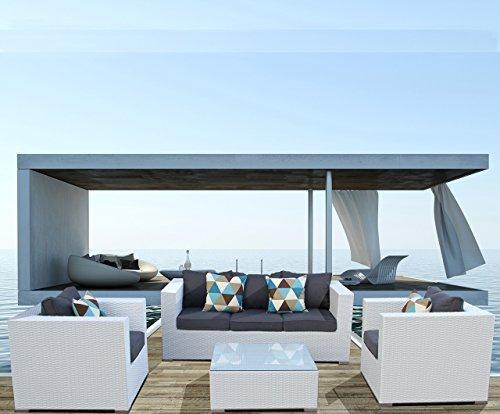 Luxurygarden Divano da Giardino in Rattan Bianco Tre posti Salotto da Esterno Set di mobili da Esterno Saturno
