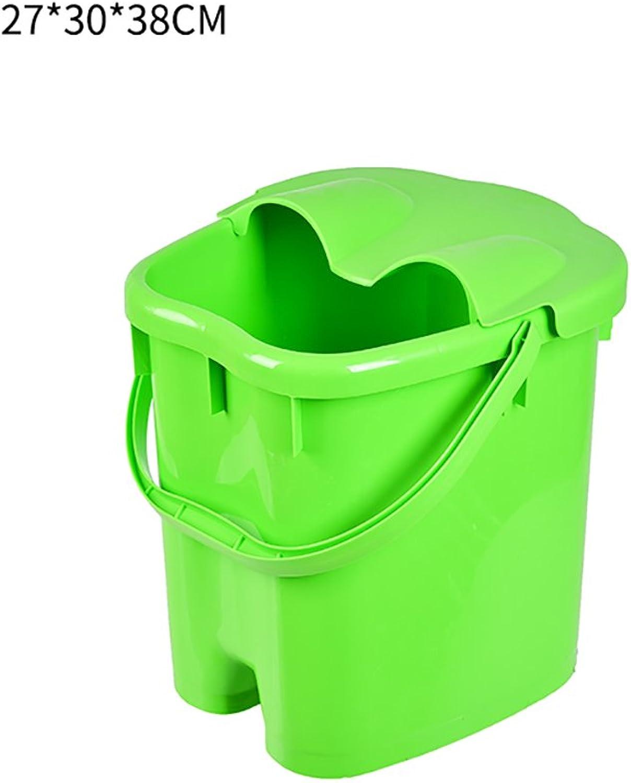 Foot tub, home green plastic foot tub, foot massage basin, foot spa basin, footbath (Size   273038cm)