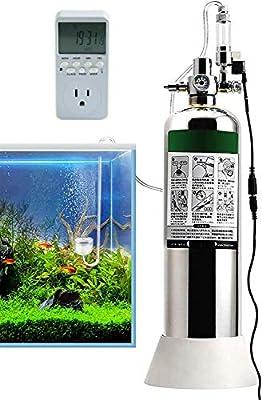JIAWANSHUN 4L Aquarium CO2 Generator System with Timer Solenoid Valve&Diffuser for Aquarium Tank