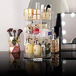RLYBDL 360 Degree Rotating Cosmetic Storage Box Makeup Organizer Cosmetics Storage Rack Fashion Crystal helf Display Stand...