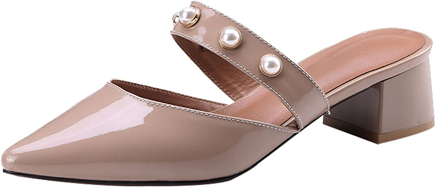 LIUXUEPING Baotou Half Slippers Female New Summer Han Edition Joker Pointed Leather Thick with Pearl Rivet with Women's shoes (color   Bare Pink, Size   34)