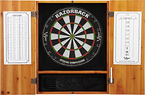 Viper Metropolitan Solid Wood Cabinet & Sisal/Bristle Dartboard Ready-to-Play Bundle: Premium Set (Razorback Dartboard and Darts), Oak Finish