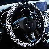 YOGURTCK Cute Boho Steering Wheel Cover with Ethnic Style Cloth Flowers, Universal 15 Inch for Women Girls, Fit Vehicles, Sedans, SUVs, Vans, Trucks - Black