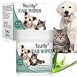Ohren-Reinigungspads, Ohrenreiniger für Katze und Hund, Besonders weiche Pflege Reinigungstücher, Sanfte Feuchttücher für die Ohren-Hygiene, Milde Ohrenpflege in der Frischedose, 150 Stück