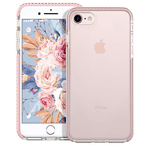 MATEPROX Cover iPhone SE 2020,Cover iPhone 8,Cover iPhone 7,Custodia Protezione Slim Anti Scivolo Anticaduta Anti-shocke Antiurto AntiGraffio Posteriore Trasparent Cover per iPhone 8/7/SE 2020-Rosa