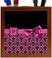 Rikki Knight Letter P Pink Monogram Damask Bow Design 5-Inch Tile Wooden Tile Pen Holder (RK-PH41940) [並行輸入品]