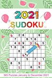 2021 Sudoku: Sudoku Puzzles 9x9 January to December 2021 Daily Calendar, 365 Puzzles, 4 Levels of Difficulty (Easy to Extreme) ,Green and Leave Cover Design
