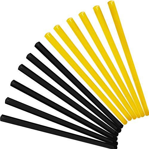 HAPPY FINDING 12 Stück Universal Heissklebepistole Klebesticks Heißkleber für Ausbeulwerkzeug, Standard HeißklebesticksHohe Klebekraft Dellen Reparaturset, 270x11 mm, Gelb und Schwarz.