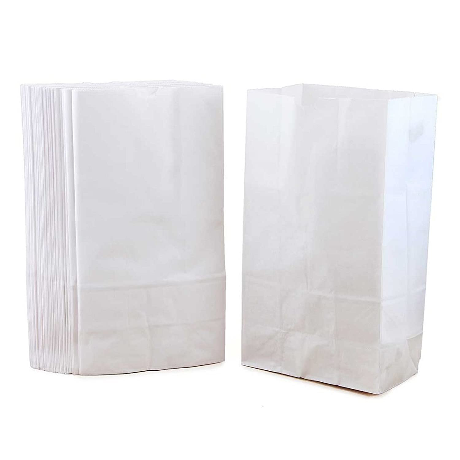 Hygloss Products Gusseted Flat Bottom Kraft Lunch Paper Bags - 8-3/16 x 2-1/4 x 4-1/4 Inch, White, 100 Pack