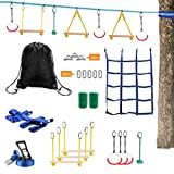 Lucky Link 49ft Ninja Warrior Slackline Obstacle Course, Jungle Gym Monkey Bars Kit