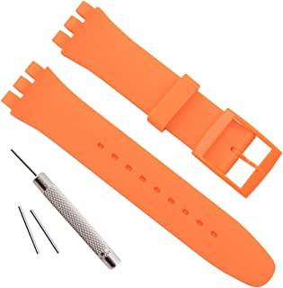 OliBoPo Ultra-Thin Replacement Waterproof Silicone Rubber Watch Strap Watch Band for Swatch Skin Series