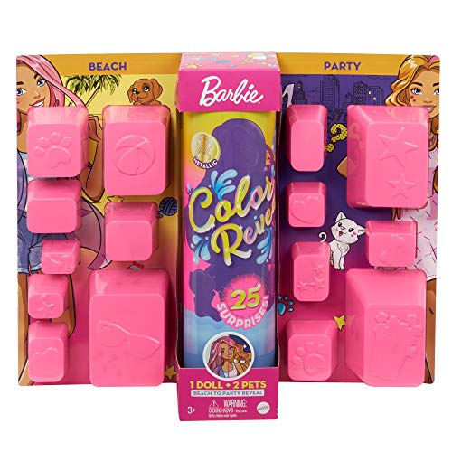 Barbie Color Reveal Doll Set with 25 Surprises Including 2 Pets & Day-to-Night Transformation: 15 Mystery Bags Contain Doll Clothes & Accessories for 2 Looks; Water Reveals Look of Metallic Doll