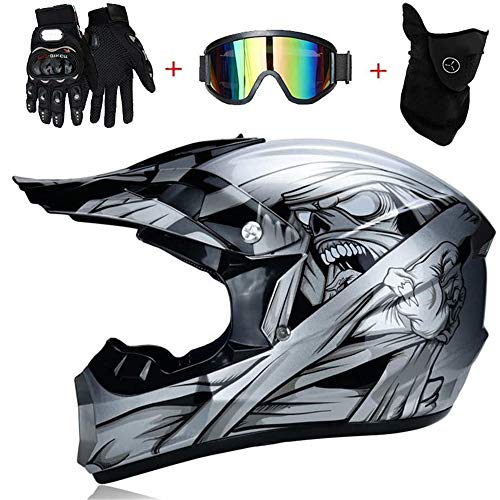 Motocross Helm mit Brille Motoradhelme Damen, Adult Off Road Motorradhelm Crosshelm Set Handschuhe Maske, Unisex Fullface Cross Helm Quad Motorrad Schutzhelm für Herren Kinder, Silber Teufel,S