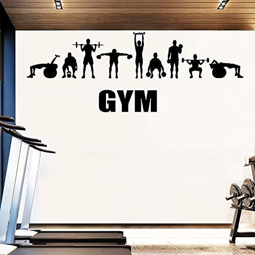 Etiqueta engomada de la pared del vinilo del gimnasio Sports Fitness Club Sign Decal Barbells Dumbbell Mural Modern Removible Sticker O107_ Como se muestra