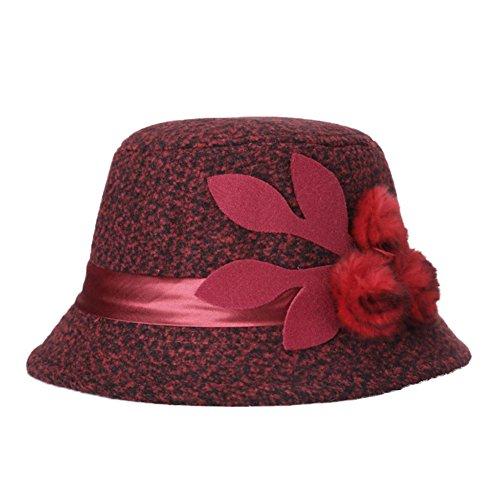 Westeng 1Pcs Gorro de Invierno para Mujer Moda Flores Sombreros de Invierno Regalo Cálido en el Frío Invierno (Rojo)