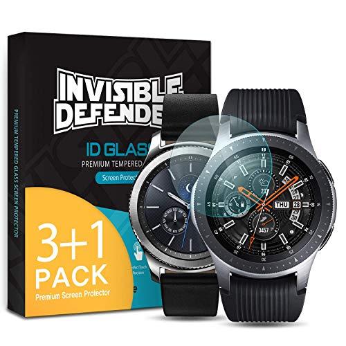 Ringke Invisible Defender Vidrio Templado [4 Pack] Protector de Pantalla Compatible con Galaxy Watch 46mm / Gear S3, Cristal Transparente Definitivo Calidad de Alta Definición Tecnología de Dureza 9H