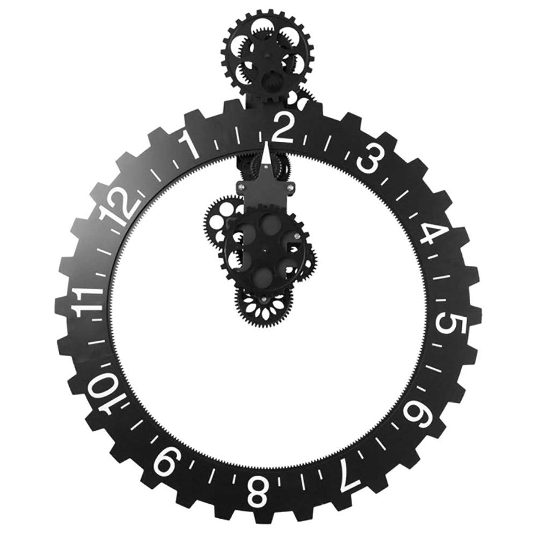 判定リゾート生まれファッション 黒ギアクリエイティブファッションシンプルなホテルの寝室研究リビングルームの壁時計装飾時計 装飾