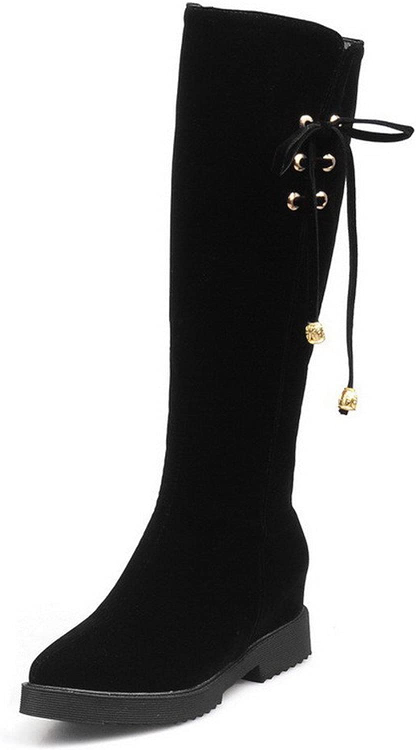 AllhqFashion Women's Solid Kitten-Heels Pointed Closed Toe Imitated Suede Zipper Boots