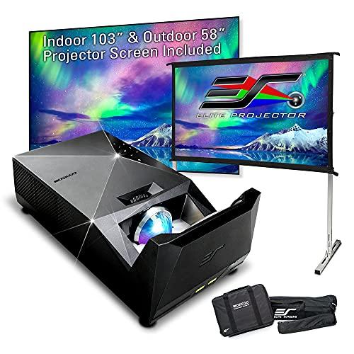 "EliteProjector Ultra Short Throw Projector Bundle, Indoor 103"" CLR Fixed Frame, 58 in Outdoor Screen, 8K 4K 1080P IPX2 Portable Home Theater, 1500 LED Lumen, 8Wx2 Speaker, Movie, Gaming, MosicGO360"