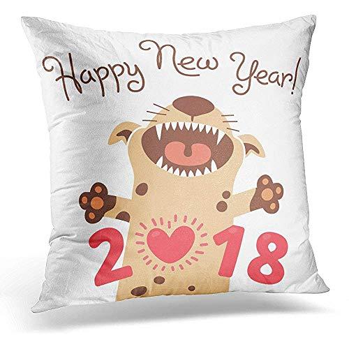 White Pet Happy Kussensloop, 2018, nieuwjaar, grappige puppy, gegratuleerd met Chinese sterrenbeeld, de schattige decoratieve kussenslopen voor binnendecoratie buitenshuis
